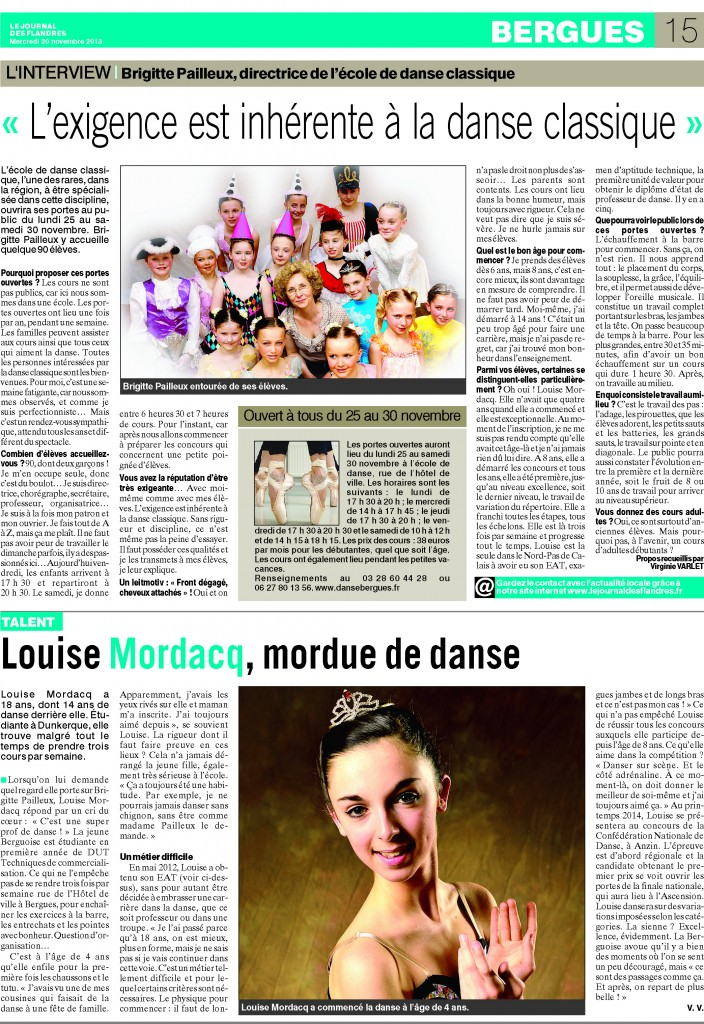 Article journal des Flandres du mercredi 20 novembre 2013