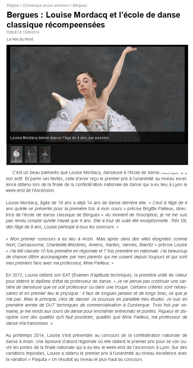 Louise Mordacq et l'Ecole de danse récompensées Ecole de